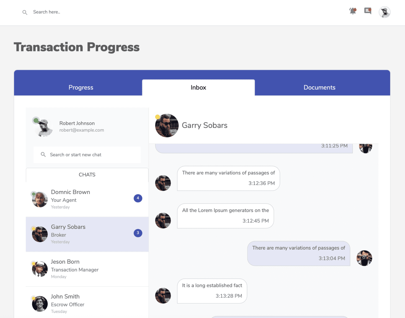 Screenshot of the chat feature on the Hutsy platform