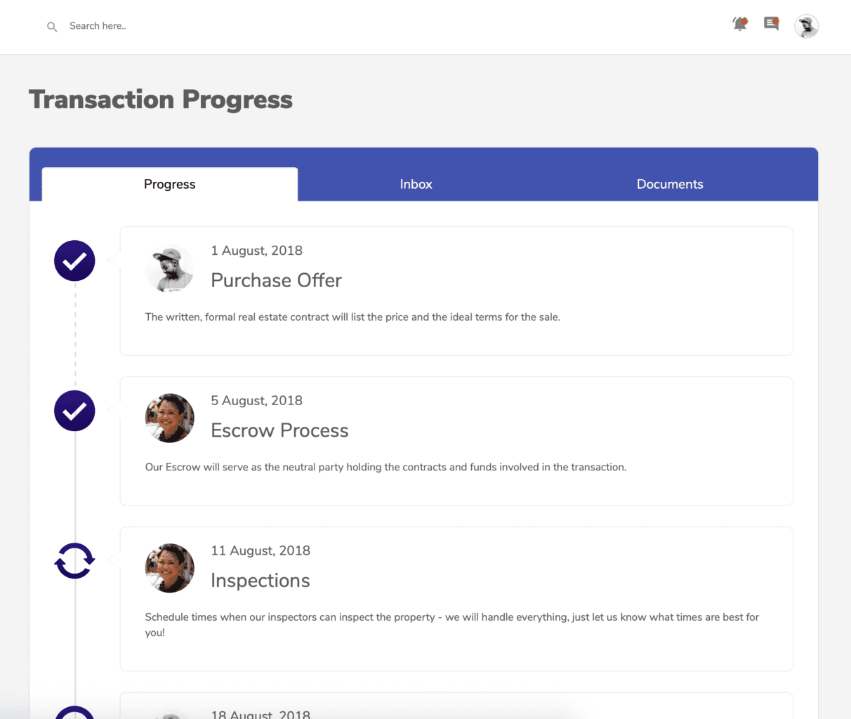 Screenshot of the transaction management feature on the Hutsy platform